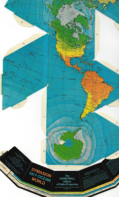 Flat unfolded cardboard dymaxion globe using Fuller Projection 1967