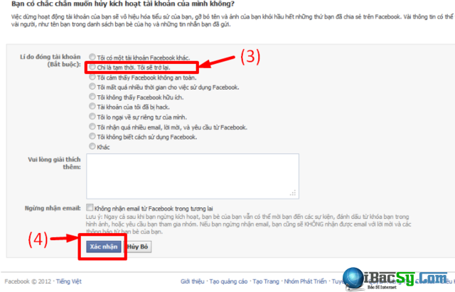 Chán Facebook - Cách khóa nick tài khoản Facebook một thời gian + Hình 4
