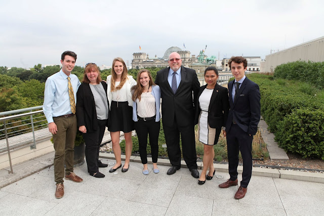 Brianna Gasgonia: #StudyAbroadBecause... you'll never forget it or regret it! The interns with the Deputy Chief Of Mission (who I like to call Vice Ambassador) on the Embassy terrace.