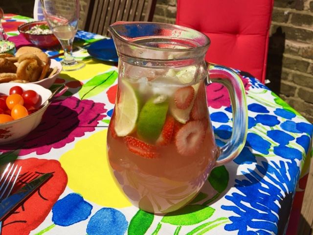 Rhubarb and strawberry sangria with white wine and cider