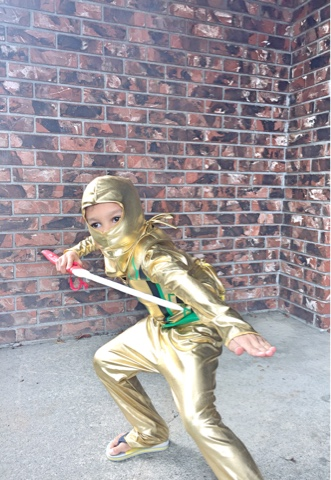 My favourite feature of the costume was the fact that it stretched. Not only was it comfortable for my newly minted golden ninja to show off his crazy ninja ... & SwankMama: The Golden Ninja - Costume SuperCentre Review