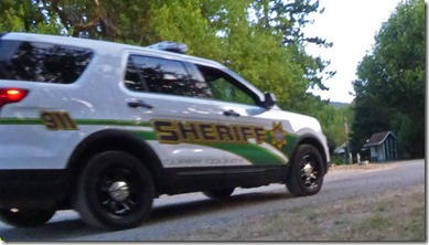 Sheriff car looking for banned fireworks at Huntley Park near Gold Beach