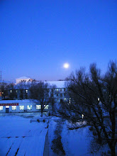 Photo: A rare full bright moon,lately in dawn in 2nd snow of winter 2010. a scene from QRRS Dorms.