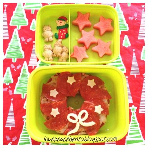 Christmas Wreath Pizza Bagel