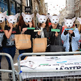 WWW.ENTSIMAGES.COM -       at  Save Kimi hits London -  Animal lovers protest at Burberry store London October 24th 2014FOUR PAWS submits over 200,000 votes of protest to the British fashion label.FOUR PAWS is an international animal welfare organisation making a stand against the cruelty of the fur animal industry.                                                Photo Mobis Photos/OIC 0203 174 1069