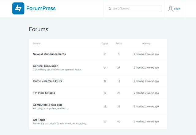 forum press wordpress forum theme thread page demo