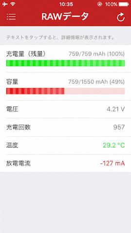 iPhone 5sのバッテリーの容量が49%