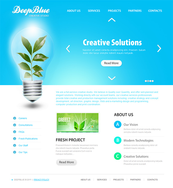 Deep Blue Organic WordPress Theme