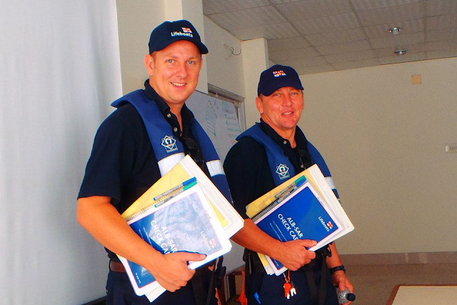 23 October 2012 - Dave Riley and Bernie Mannings ready for training - just need some lifeboats now!  Photo credit: Alex Evans