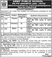 Army Public School Udhampur Vacancy 2020 indialjobs
