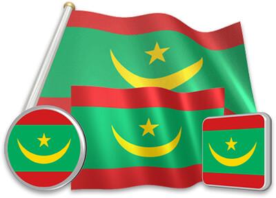 Mauritanian flag animated gif collection