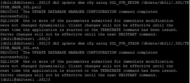 Update DBM CFG SSL_SVR_KEYDB, SSL_SVR_STASH