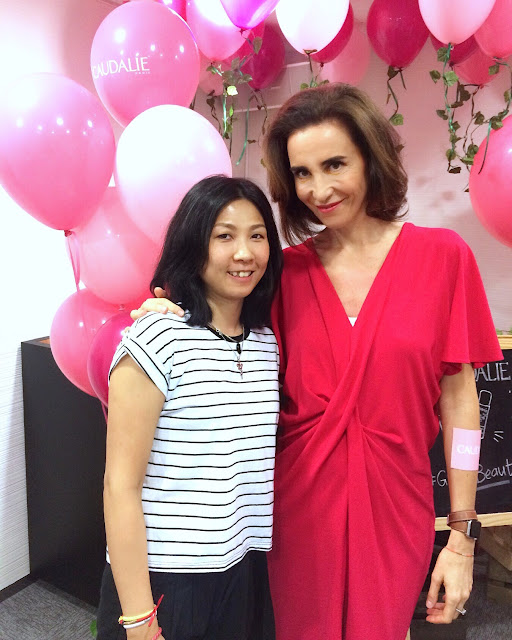 The Hong Kong Makeup Artist Krace Mak with the Caudalie founder Mathilde Thomas