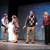 "Paul Dederick, Jennifer Van Iderstyne, Tim Orcutt and Cristine M. Loffredo in ""Foreplay: or the Art of the Fugue"" as part of THE IVES HAVE IT - January/February 2012.  Property of The Schenectady Civic Players Theater Archive."