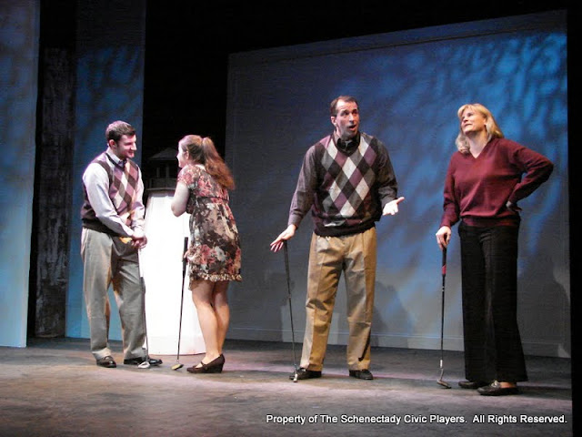 """Paul Dederick, Jennifer Van Iderstyne, Tim Orcutt and Cristine M. Loffredo in """"Foreplay: or the Art of the Fugue"""" as part of THE IVES HAVE IT - January/February 2012.  Property of The Schenectady Civic Players Theater Archive."""
