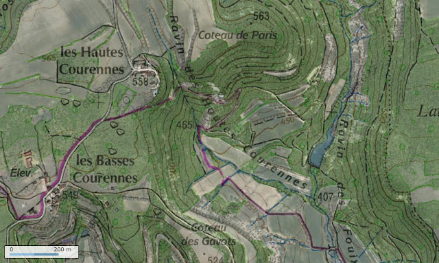 Carte IGN (Géoportail) des Hautes-Courennes