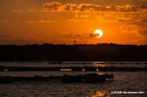 石山荘の目の前、英虞湾からみた夕陽です。