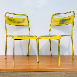 French Bistro Style Metal Chair Pair #2