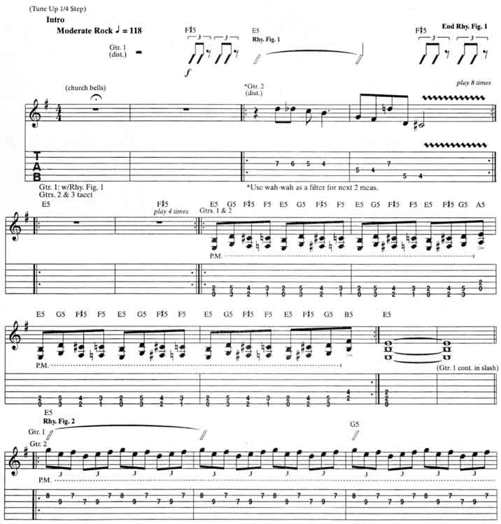 Metallica For Whom The Bell Tolls Guitar Tab and Sheet Music Free - metallicaguitar tabs