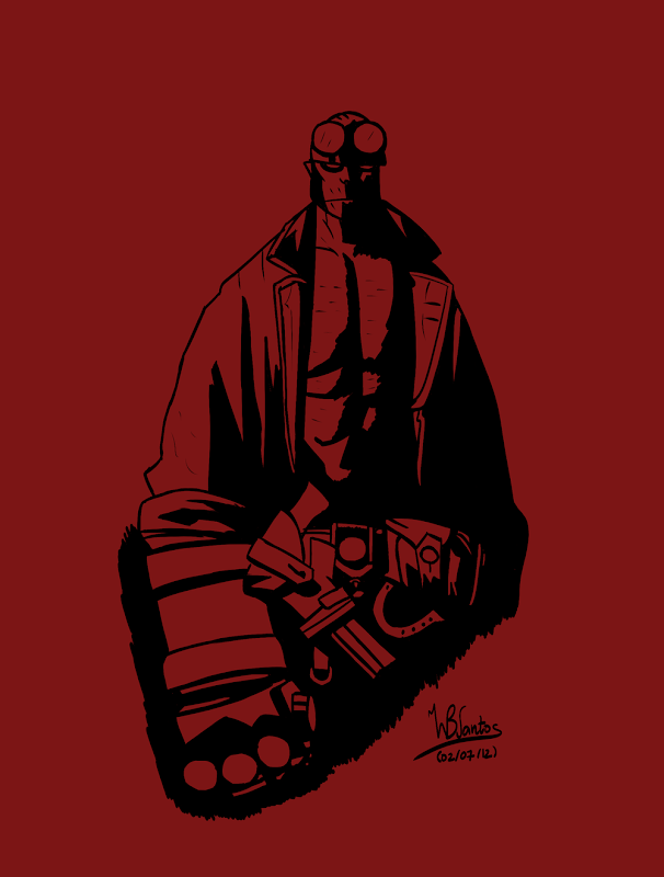 Ink drawing of Hellboy, using Krita 2.5 Alpha.