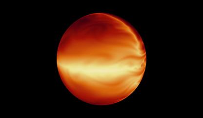 ilustração de uma atmosfera turbulenta de um planeta quente e gasoso