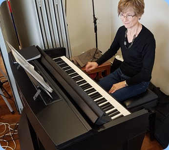 Denise Gunson playing the Yamaha Clavinova CVP-609.