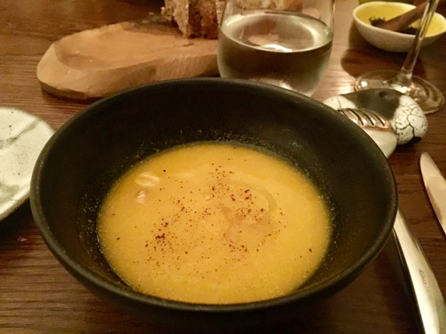Pumpkin soup with nuts at Icelandic Texture restaurant in London