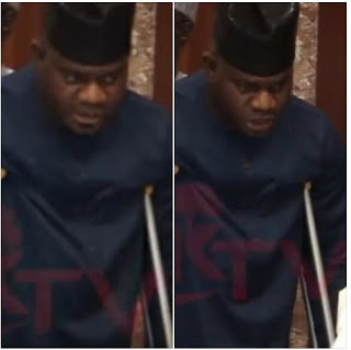 Photos:Governor Yahaya Bello Spotted On Crutches In Aso Rock After Accident