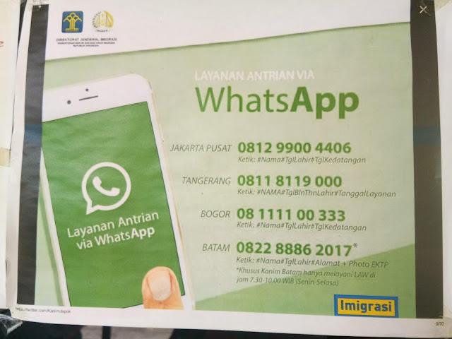 layanan whatsapp kantor iimigrasi, cara cepat buat janjian buat bikin pasport dan perpanjang passport lama, antre antri buat paspor