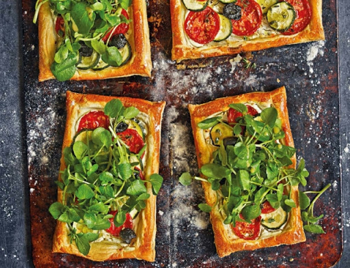 Herbed goat's-cheese & summer-veg tarts