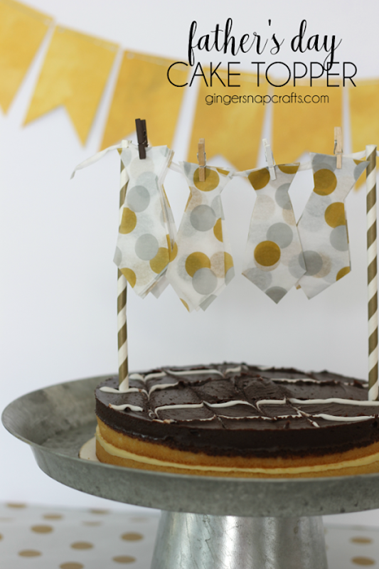 Father's Day Cake Topper at GingerSnapCrafts.com #cake #papercraft_thumb