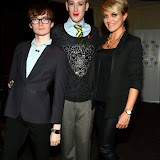 WWW.ENTSIMAGES.COM -  Fossy Meade , Lewis Duncan Weedon and Miss Lucy Dartford - Director of Lucy Dartford PR  at  Neobotanic Fashion SS14 exotic landscape collection at The Millennium Hotel  London October 14th 2013Photo Mobis Photos/OIC 0203 174 1069