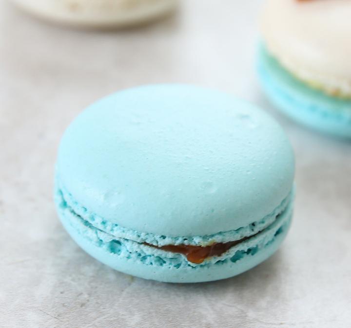 close-up photo of a blue macaron