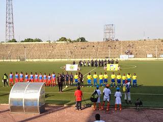 Les Léopards dames de la RDC qui recevaient les Panthères du Gabon au stade Tata Raphaël. Radio Okapi/Ph. Nana Mbala