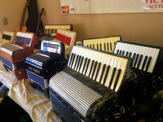 Accordions of every color and size in Leavenworth WA at the Accordion Festival, June 21, 2014.