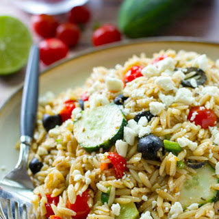Greek Orzo Pasta Salad with Sauteed Herbed Cherry Tomatoes