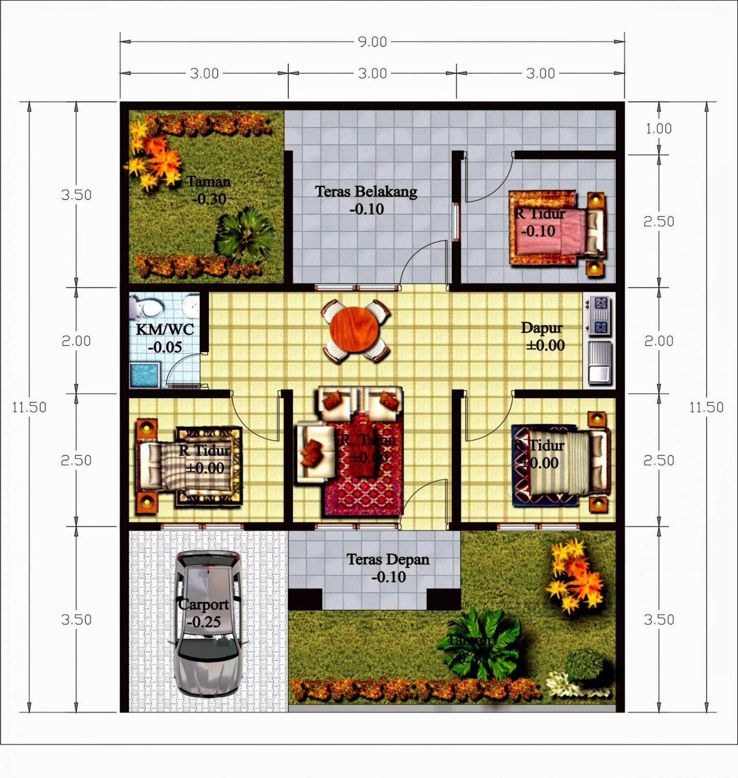 3 Contoh Denah Rumah Minimalis Modern Terbaru: Gambar Denah Rumah Terbaru