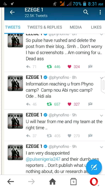 Pulseng Deleted Post Of Phyno Stolen Song
