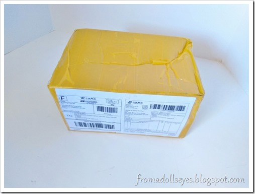The shipping box from Alice's Collections before opening.  Inside is the long awaited order of bjd stuff.