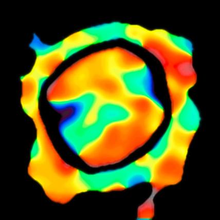 mapa dos movimentos do material na superfície de Antares