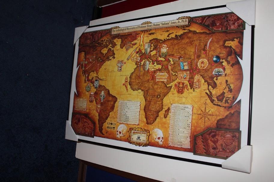 Fs ltd ed prints vanderstelt sanda rood corroney trevas alvin indiana jones relic world map signed ltd ed print limited to 255 framed 24 x 36 gumiabroncs Image collections