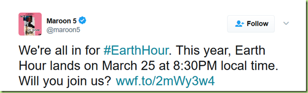 maroon 5 earth hour