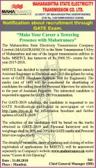 MAHATRANSCO GATE 2019 Advertisement www.indgovtjobs.in