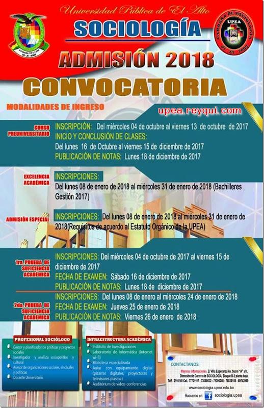 Convocatorias UPEA 2018
