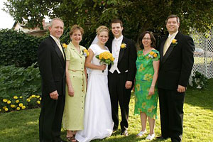 Photo of Traci and her parents and Brian and his parents on August 20, 2005 in American Fork, UT. Photo courtesy of Brian Brown.