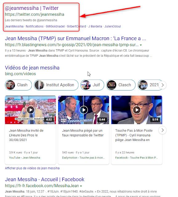 Le compte twitter de Jean Messiha est toujours visible
