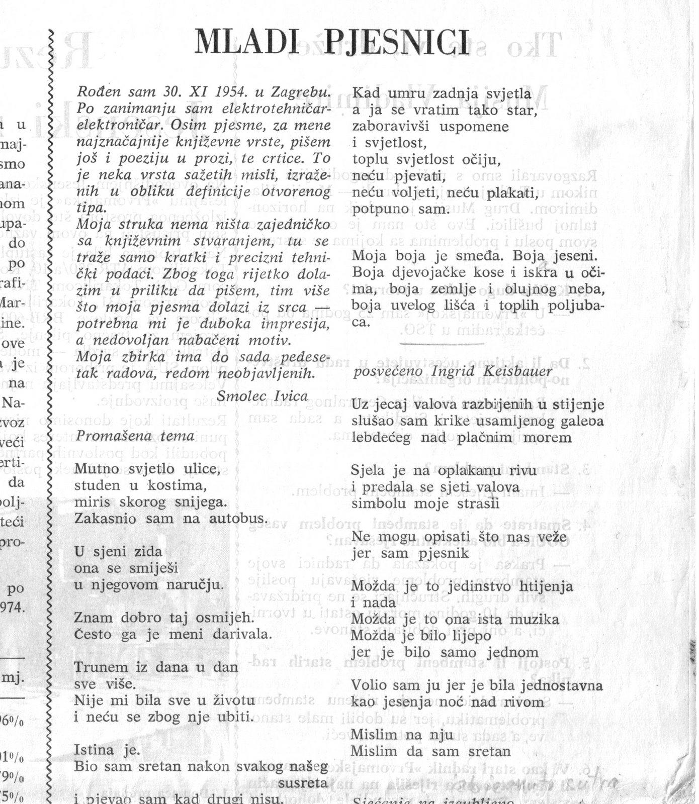 'Mladi pjesnici' - poezija Ivice Smoleca u novinama 1974. godine 1/2