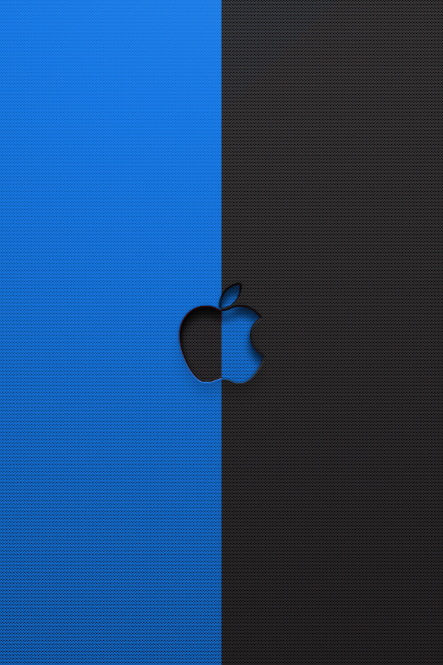 Blue and Black Apple HD Wallpaper For iPhone4