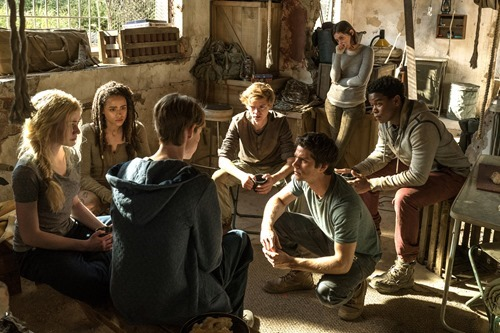"L-r, Katherine McNamara, Nathalie Emmanuel, Jacob Lofland, Thomas Brodie-Sangster, Dylan O'Brien, Rosa Salazar, and Dexter Darden star in Twentieth Century Fox's ""Maze Runner: The Death Cure."""
