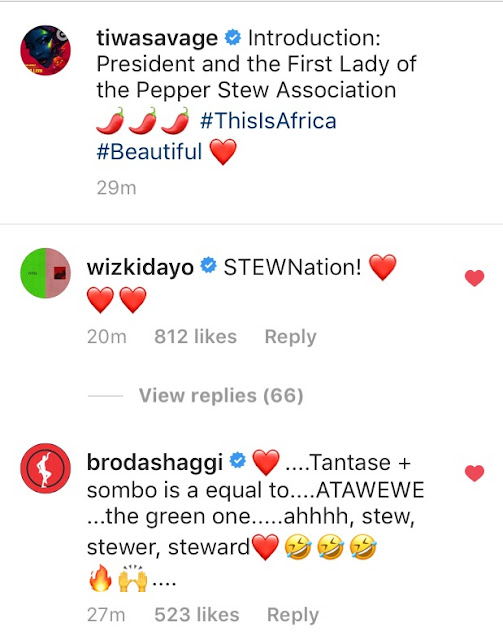 Wizkid And Tiwa Savage: President & First Lady Of Pepper Stew Association